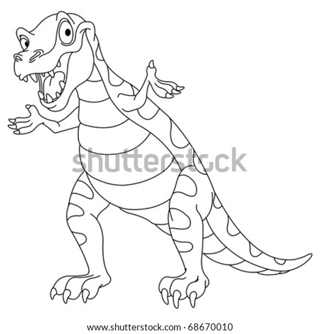 Outlined dinosaur - stock vector