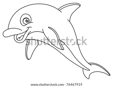 Outlined dolphin - stock vector