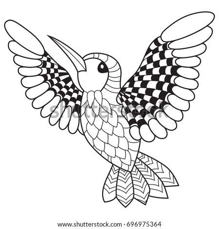 Outlined Doodle Anti Stress Coloring Book Page Humming Bird For Adults And Children