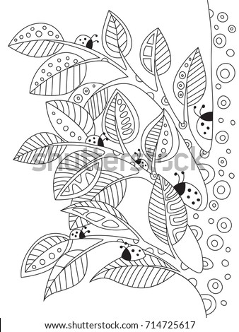 Outlined Doodle Antistress Coloring Book Page Stock Vector 714725617 ...