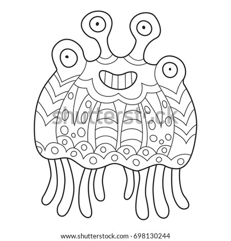 outlined doodle anti stress coloring funny monster coloring book page for adults and - Monster Coloring Book