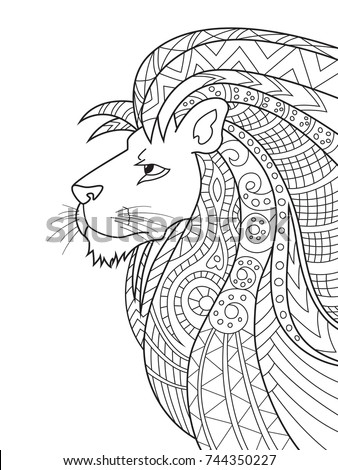 Outlined Doodle Antistress Coloring Lion Coloring Stock Vector ...
