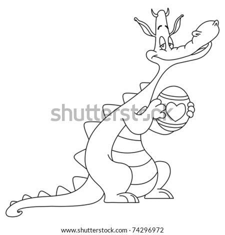Outlined dragon holding an easter egg - stock vector