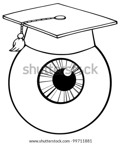 Outlined Eye Ball Cartoon Character With Graduate Cap. Vector Illustration - stock vector
