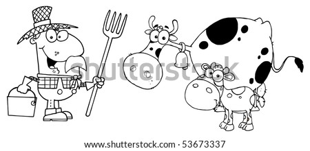 Outlined Farmer Tending To His Cattle - stock vector