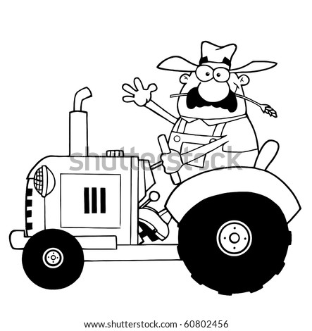 Outlined Farmer Waving And Driving A Tractor - stock vector