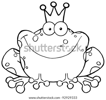 Outlined Frog Prince Cartoon Character - stock vector