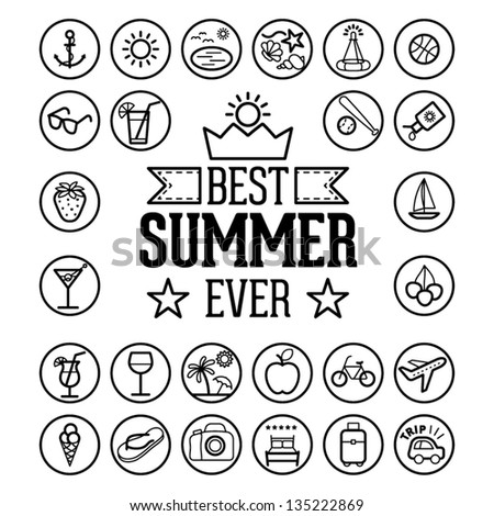 Outlined Funny and Cool Summer Icon Vintage Set Collection - stock vector