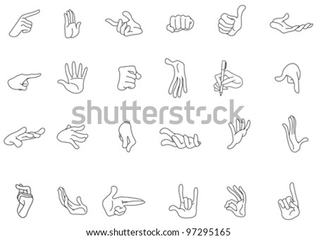 Outlined hand gestures - stock vector