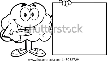 Outlined Happy Brain Cartoon Character Showing A Blank Sign - stock vector