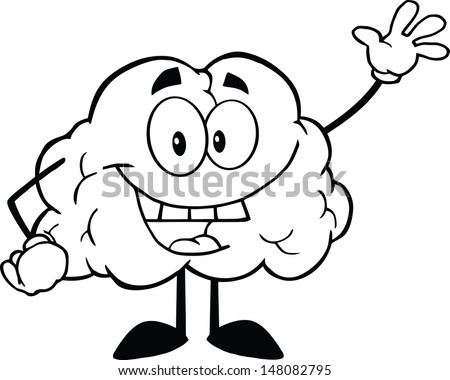 Outlined Happy Brain Cartoon Character Waving For Greeting - stock vector