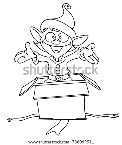 Outlined Happy Elf Popping Out Of A Christmas Gift Box Vector Line Art Illustration Coloring
