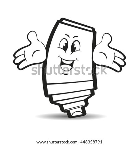outlined happy marker pen cartoon spreading hands-vector drawing - stock vector