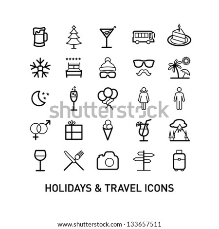 Outlined Holidays and Travels Icon Set Collection - stock vector