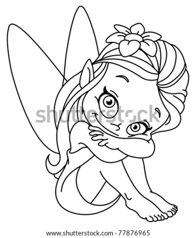 Outlined illustration of a little fairy - stock vector