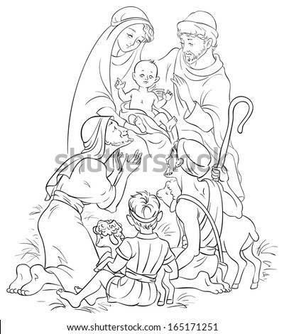 Outlined illustration of a Nativity scene - Jesus, Mary, Joseph and Shepherds. Colouring page. Also available colored version - stock vector