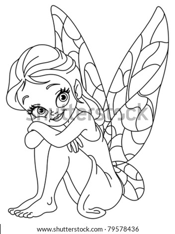 Outlined illustration of an adorable fairy - stock vector
