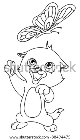 Outlined kitten and butterfly - stock vector