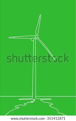 Outlined logo of the wind turbine in the sea on the green background, vector image, EPS10