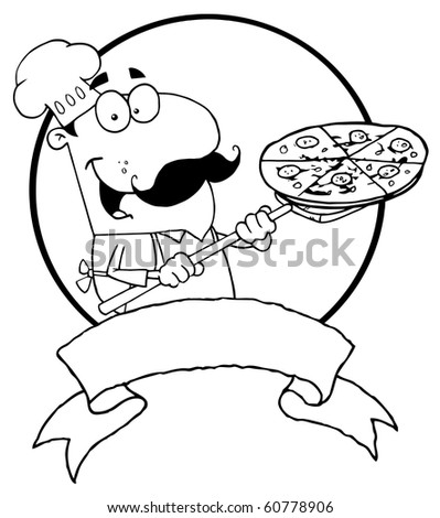 Outlined Male Pizzeria Chef Holding A Pizza On A Scooper Above A Blank Banner And Circle - stock vector