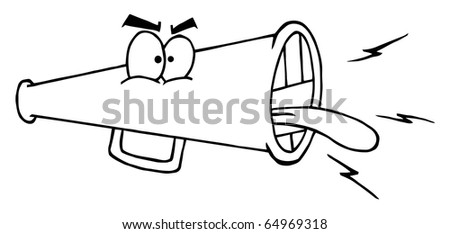 Outlined Megaphone Cartoon Character Screaming - stock vector