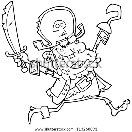 Outlined Pirate Zombie - stock vector