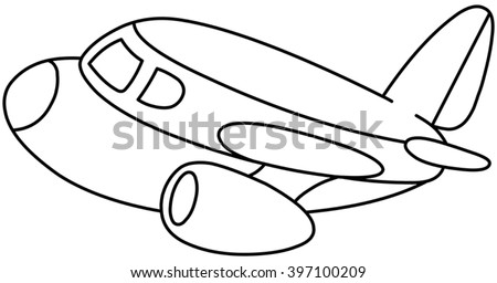 Outlined plane. Vector illustration coloring page.