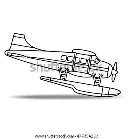 outlined propeller sea plane-vector drawing