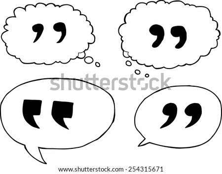 Outlined quotation marks inside dialog bubbles - stock vector