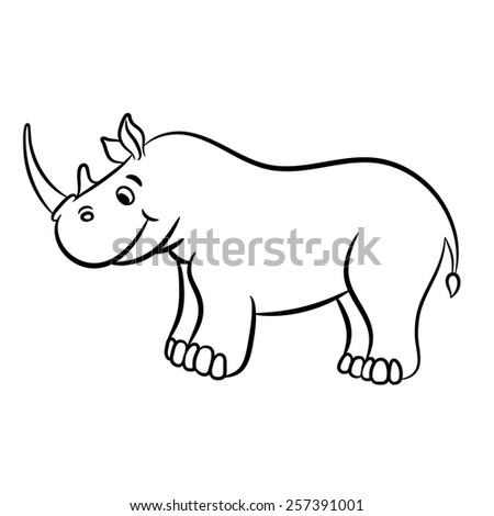 Outlined rhino vector illustration. Isolated on white. - stock vector