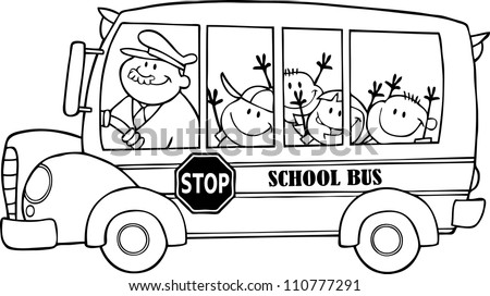 Outlined School Bus With Happy Children - stock vector