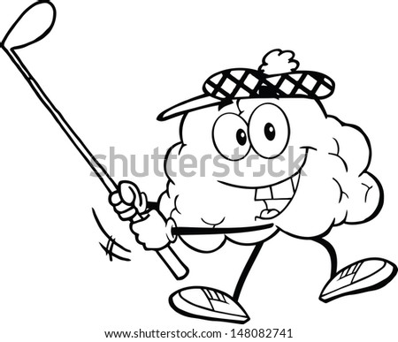 Outlined Smiling Brain Cartoon Character Swinging A Golf Club - stock vector