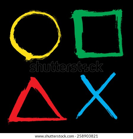 Outlined square, circle, triangle elements - stock vector
