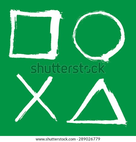 outlined square, circle, triangle elements, white on green - stock vector