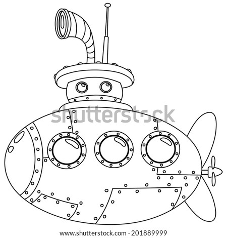 Outlined submarine. Vector illustration coloring page - stock vector