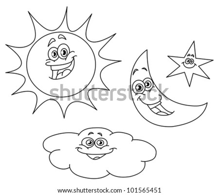 Star Outline Drawing Outlined Sun Moon Star And