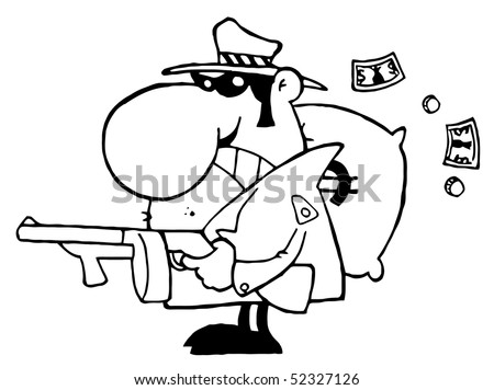 Outlined Tough Mobster Holding A Machine Gun And Money Sack - stock vector