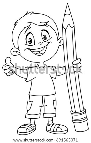 Outlined School Bus Cartoon Stock Vector 147357719