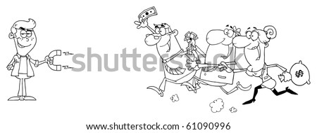 Outlined Young Businessman Using A Magnet Attracts People With Money - stock vector