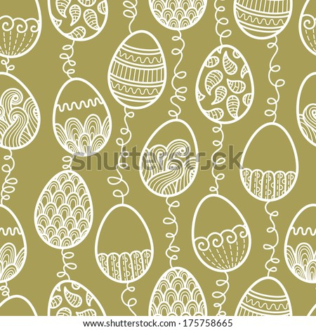 outlines doodle Easter pattern. Vector seamless doodle easter pattern with Easter eggs - stock vector