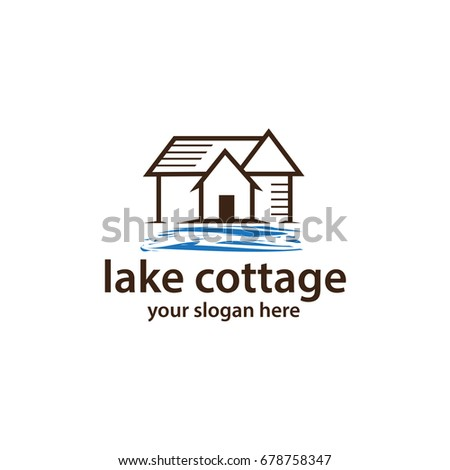 Outlines Of Cottage With Lake Water Logo Design Isolated On White Background