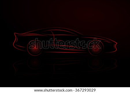 Outlines of Sports Cars. Vector Isolated On Black Background - stock vector