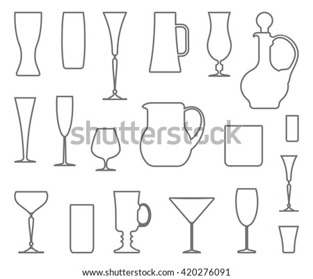 Outlines of ware from glass and crystal - stock vector