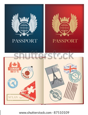outside and inside pages of a red and blue passport with stamps, uses gradient mesh - stock vector