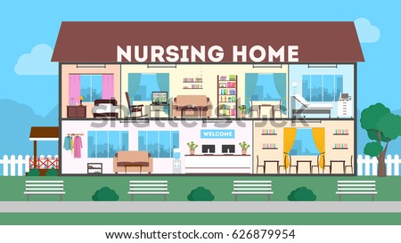Outside nursing home green landscape clinic stock vector for How to build a retirement home