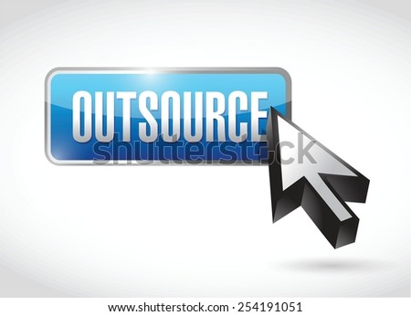 outsource button illustration design over a white background - stock vector