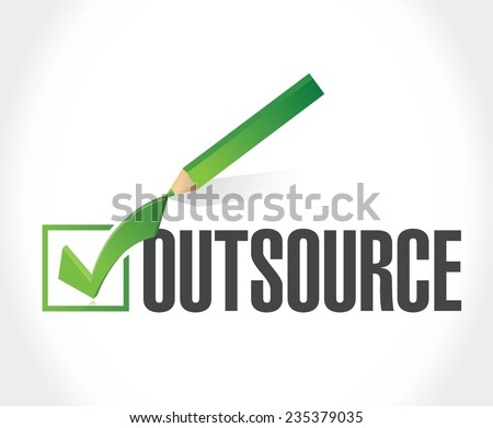 outsource checkmark illustration design over a white background - stock vector