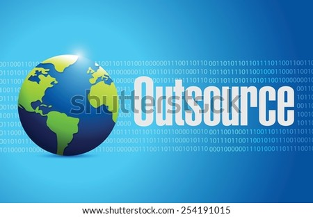outsource globe sign illustration design over a blue binary background - stock vector