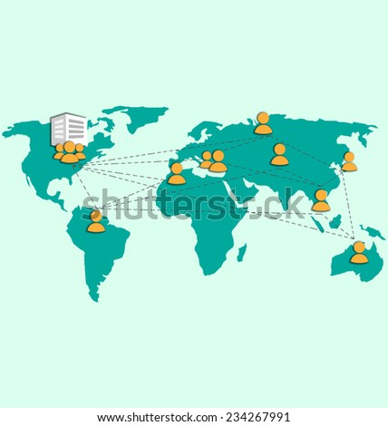 Outsourcing image with world map and icons on blue - stock vector