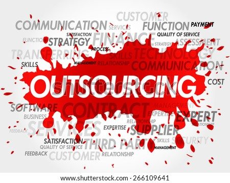 Outsourcing word cloud, business concept - stock vector